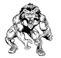 Wrestling Lions Mascot Decal / Sticker 2