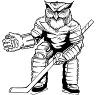 Hockey Owls Mascot Decal / Sticker 1