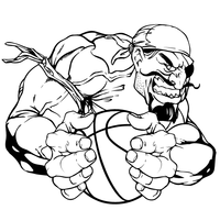 Pirates Basketball Mascot Decal / Sticker