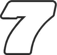 7 Race Number Outline Decal / Sticker
