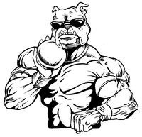 Shot Put Bulldog Mascot Decal / Sticker 2