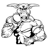Shot Put Bull Mascot Decal / Sticker 2