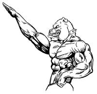 Weightlifting Bulldog Mascot Decal / Sticker 2