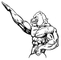 Weightlifting Bulldog Mascot Decal / Sticker 2