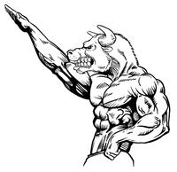 Weightlifting Bull Mascot Decal / Sticker 2