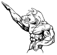 Weightlifting Bull Mascot Decal / Sticker 2