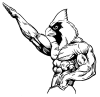 Weightlifting Cardinals Mascot Decal / Sticker 2
