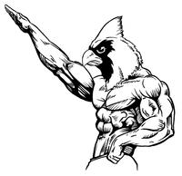 Weightlifting Cardinals Mascot Decal / Sticker 2