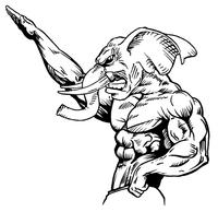 Weightlifting Elephants Mascot Decal / Sticker 2