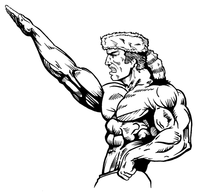 Weightlifting Frontiersman Mascot Decal / Sticker 2
