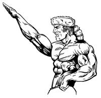 Weightlifting Frontiersman Mascot Decal / Sticker 2