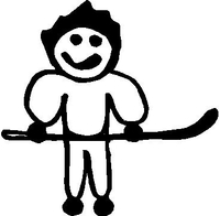 Hockey Player Stick Figure Decal / Sticker 01
