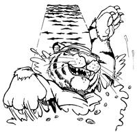 Swimming Tigers Mascot Decal / Sticker 2