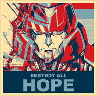 Vote Megatron Political Destroy All Hope Decal / Sticker 04