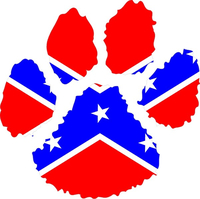 Confederate Flag Dog Paw Decal / Sticker 01
