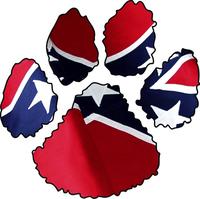 Confederate Flag Dog Paw Decal / Sticker 03