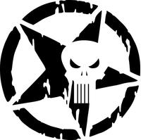 Punisher Star Decal / Sticker 126