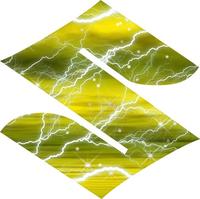 Yellow Lightning Suzuki logo Decal / Sticker