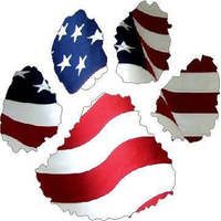 Amercan Flag Dog Paw Decal / Sticker