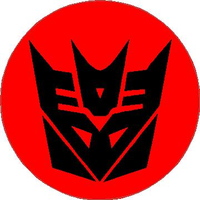 Cicular Red and Black Decepticon Decal / Sticker