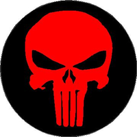 Circular Red and Black Punisher Decal / Sticker