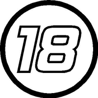 18 Race Number Hemihead Font Decal / Sticker