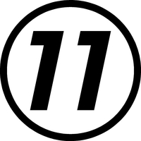 11 Race Number Hemihead Font Decal / Sticker