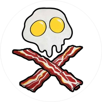 Bacon and Eggs Skull and Cross Bones Circular Decal / Sticker 03