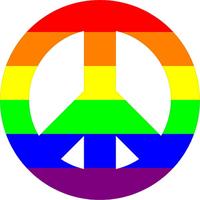 Rainbow LGBT Flag Peace Decal / Sticker 02