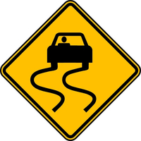 Slippery When Wet Sign Decal / Sticker 01