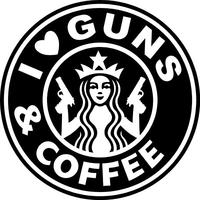 I Love Guns & Coffee Decal / Sticker 01