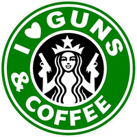 I Love Guns & Coffee Decal / Sticker 02