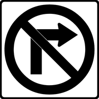 No Right Turn Decal / Sticker 01