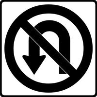 No U-Turns Decal / Sticker 01