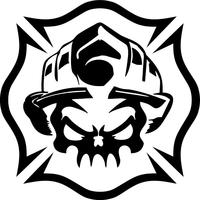 Firefighter Skull Decal / Sticker 05