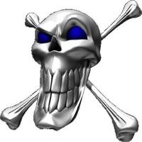 Blue Eyed Skull and Cross Bones Decal / Sticker