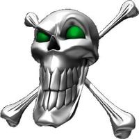 Green Eyed Skull and Cross Bones Decal / Sticker
