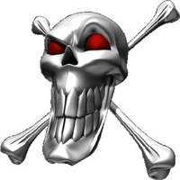 Red Eyed Skull and Cross Bones Decal / Sticker