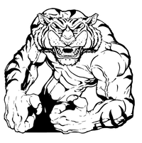 Tigers Wrestling Mascot Decal / Sticker