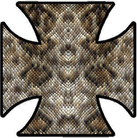 Snake Skin Maltese Cross Decal / Sticker