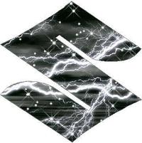 White Lightning Suzuki logo Decal / Sticker