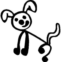 Dog Stick Figure Decal / Sticker 01