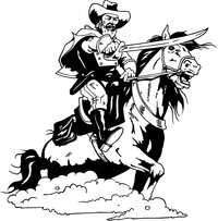 General on a Horse Mascot Decal / Sticker