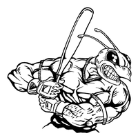 Baseball Batter Hornet, Yellow Jacket, Bee Mascot Decal / Sticker 04
