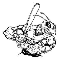 Baseball Batter Hornet, Yellow Jacket, Bee Mascot Decal / Sticker 04