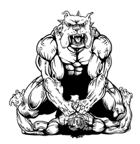 Wrestling Bulldog Mascot Decal / Sticker 1