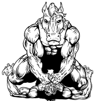Wrestling Horse Mascot Decal / Sticker 1
