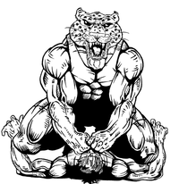 Wrestling Leopards Mascot Decal / Sticker 1