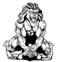 Wrestling Lions Mascot Decal / Sticker 1