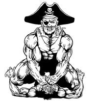 Wrestling Pirates Mascot Decal / Sticker 1